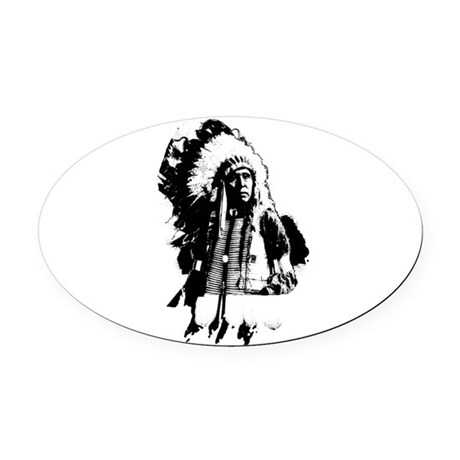indian1g.png Oval Car Magnet