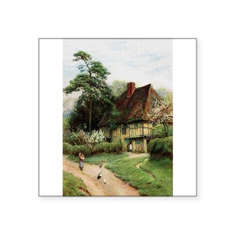 "cottage1.png Square Sticker 3"" x 3"""