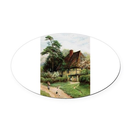 cottage1.png Oval Car Magnet