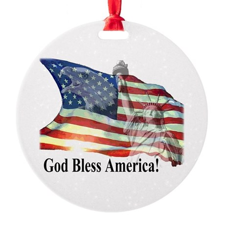 God Bless America! Round Ornament