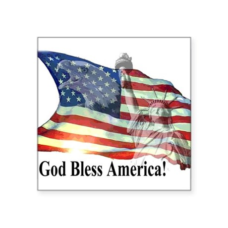 "God Bless America! Square Sticker 3"" x 3"""