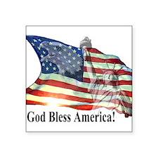 "God Bless America! Square Sticker 3"" x 3"""