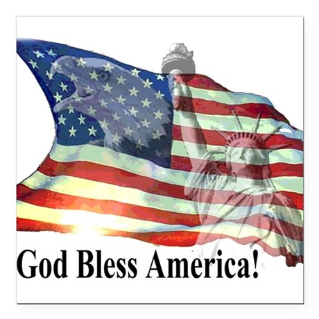 "God Bless America! Square Car Magnet 3"" x 3"""
