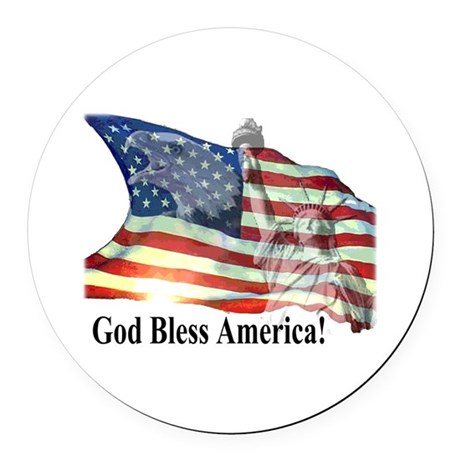 God Bless America! Round Car Magnet