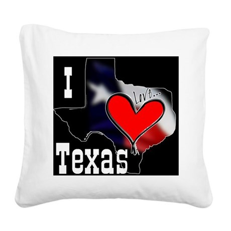 I Love Texas Square Canvas Pillow