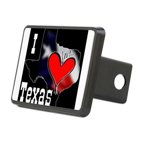 I Love Texas Rectangular Hitch Cover