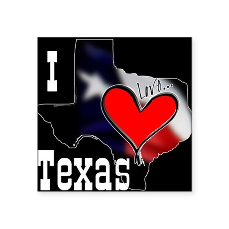 "I Love Texas Square Sticker 3"" x 3"""