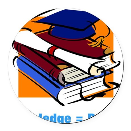 knowledge.png Round Car Magnet