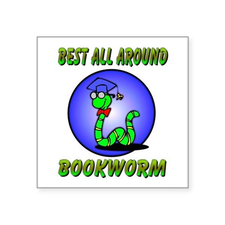 "bookworm.png Square Sticker 3"" x 3"""