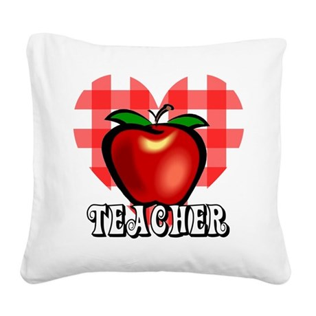 teacherapple2a.png Square Canvas Pillow