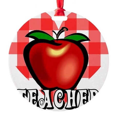 teacherapple2a.png Round Ornament