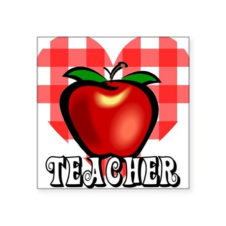 "teacherapple2a.png Square Sticker 3"" x 3"""