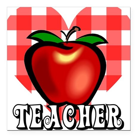 "teacherapple2a.png Square Car Magnet 3"" x 3"""