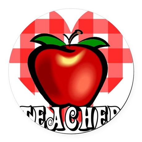 teacherapple2a.png Round Car Magnet