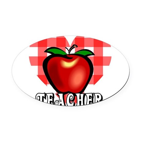 teacherapple2a.png Oval Car Magnet