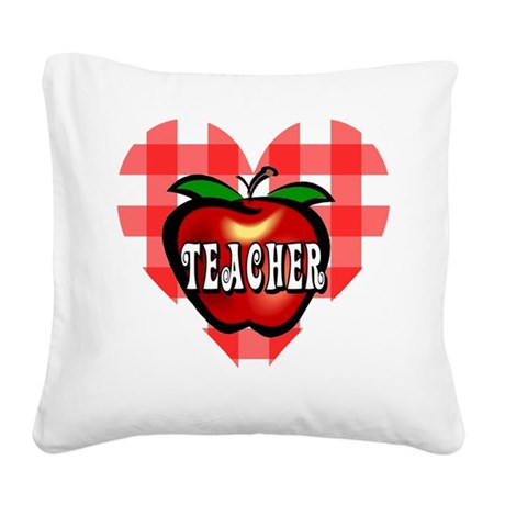 teacherapple2b.png Square Canvas Pillow