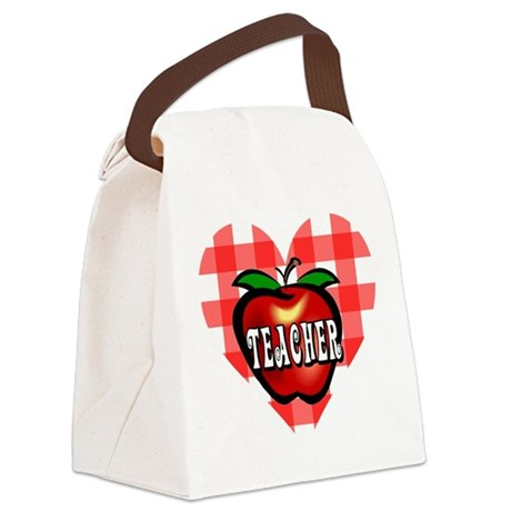 teacherapple2b.png Canvas Lunch Bag