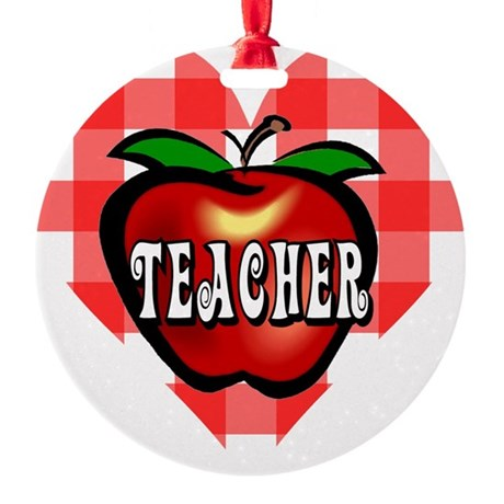 teacherapple2b.png Round Ornament
