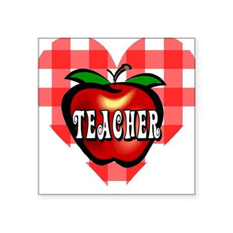 "teacherapple2b.png Square Sticker 3"" x 3"""