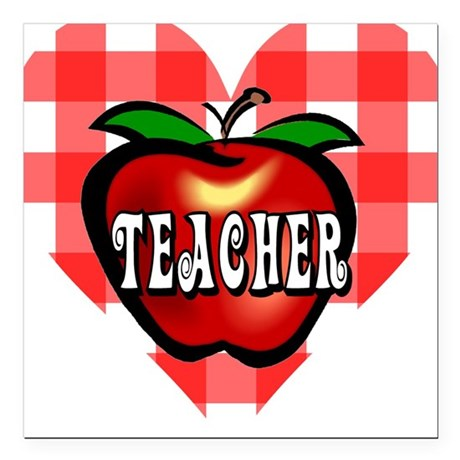 "teacherapple2b.png Square Car Magnet 3"" x 3"""