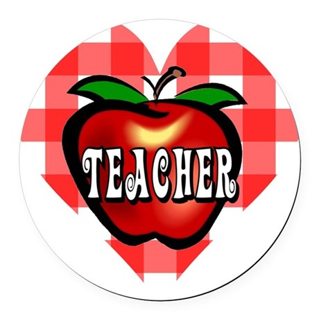 teacherapple2b.png Round Car Magnet