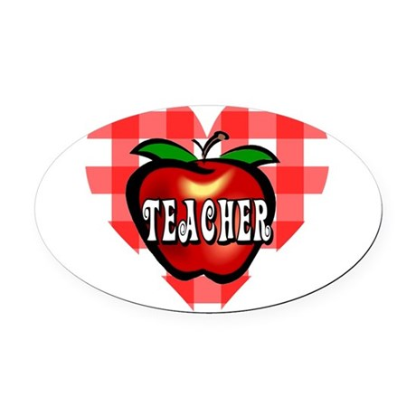teacherapple2b.png Oval Car Magnet