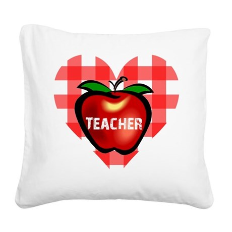teacherapple.png Square Canvas Pillow
