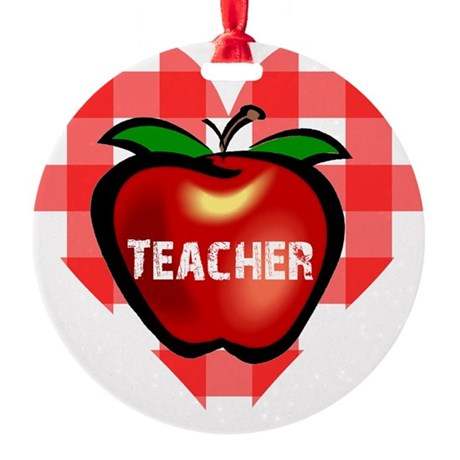 teacherapple.png Round Ornament