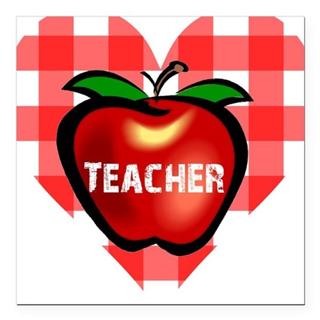 "teacherapple.png Square Car Magnet 3"" x 3"""