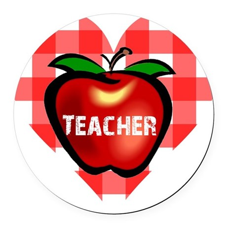 teacherapple.png Round Car Magnet