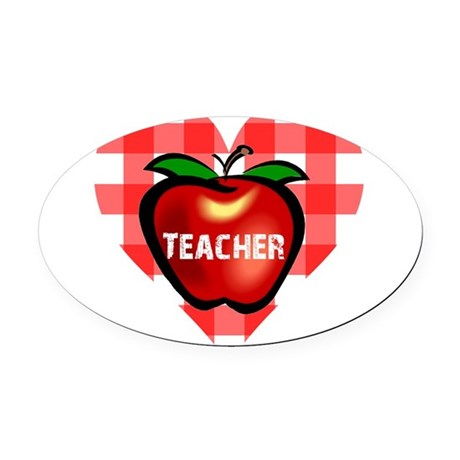 teacherapple.png Oval Car Magnet