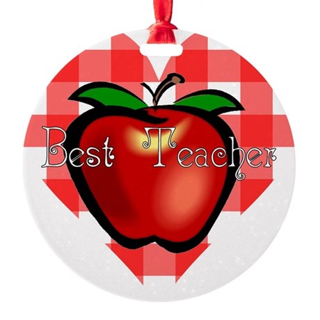 teacherapple2.png Round Ornament