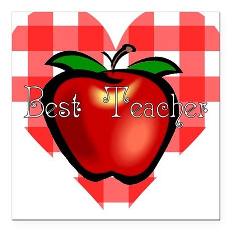 teacherapple2.png Square Car Magnet 3&quot; x 3&quot;