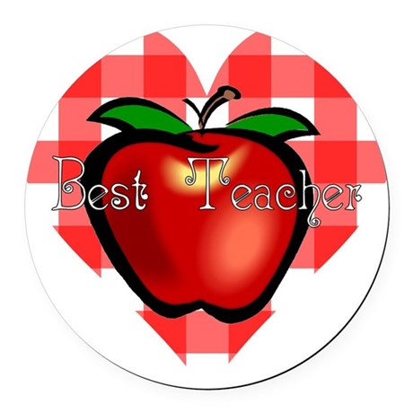 teacherapple2.png Round Car Magnet