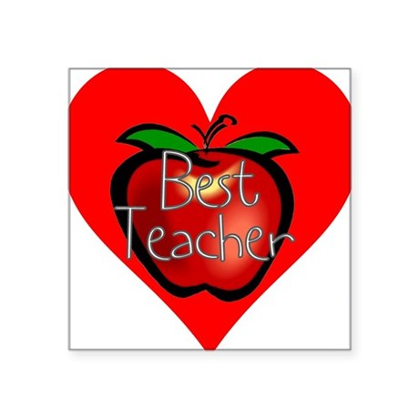 "teacherapple2c.png Square Sticker 3"" x 3"""
