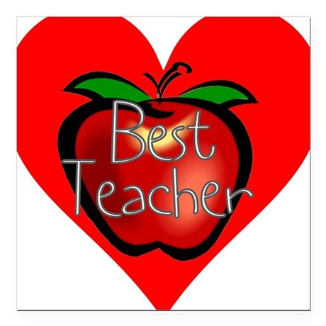 "teacherapple2c.png Square Car Magnet 3"" x 3"""