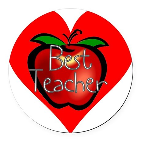 teacherapple2c.png Round Car Magnet
