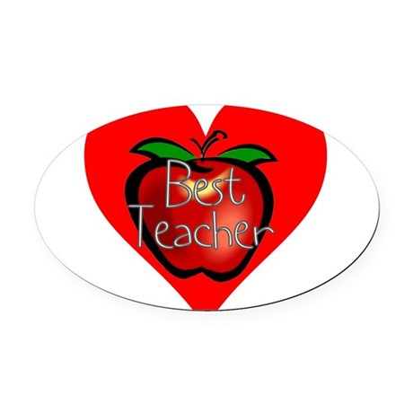 teacherapple2c.png Oval Car Magnet