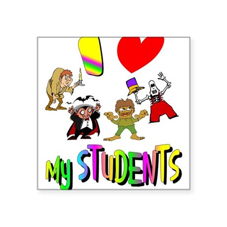 "students3.png Square Sticker 3"" x 3"""