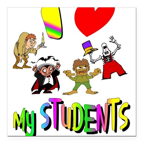 "students3.png Square Car Magnet 3"" x 3"""