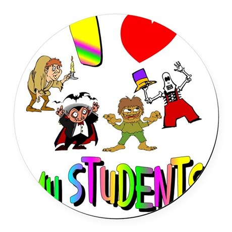 students3.png Round Car Magnet
