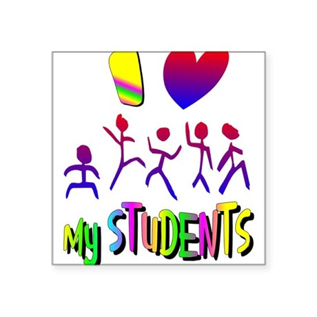 "students2a.png Square Sticker 3"" x 3"""