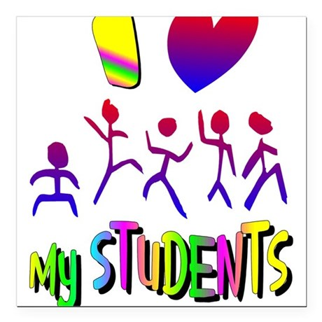 "students2a.png Square Car Magnet 3"" x 3"""