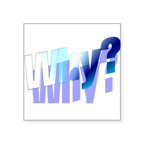 "why.png Square Sticker 3"" x 3"""
