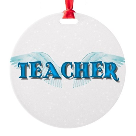 teacher2b.png Round Ornament