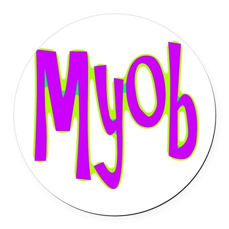 myob1e.png Round Car Magnet