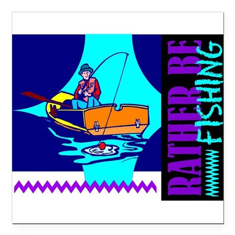 "ratherfish.png Square Car Magnet 3"" x 3"""