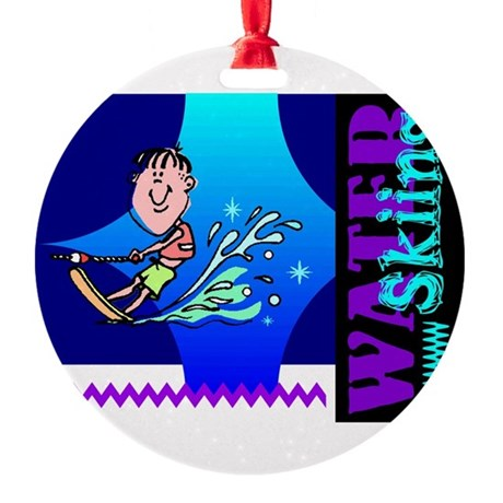 waterski.png Round Ornament