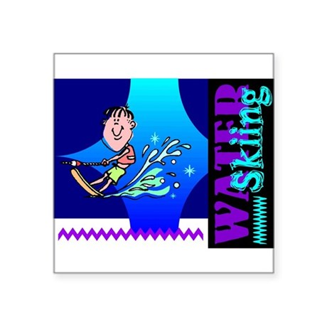 "waterski.png Square Sticker 3"" x 3"""