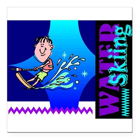 "waterski.png Square Car Magnet 3"" x 3"""
